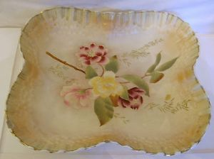 W & R Carlton Ware Blush Ware 'Camelia' Square Bowl - Early 1900s